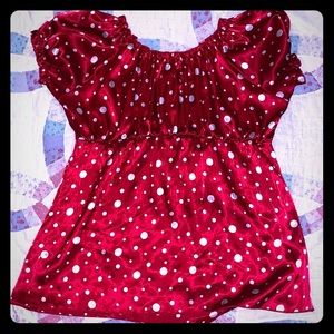 Red top with white polka dots
